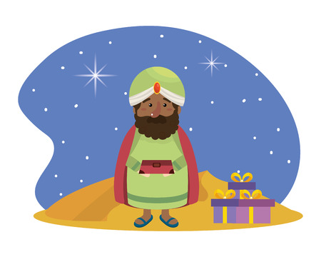 christmas nativity scene wise man with gifts cartoon vector illustration graphic design