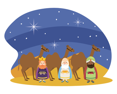 christmas nativity scene wise men with camels at night cartoon vector illustration graphic design
