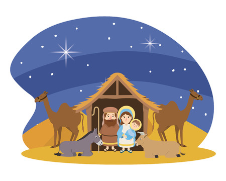 christmas nativity manger scene with joseph and mary with jesus and donkey with cow and camels cartoon vector illustration graphic design