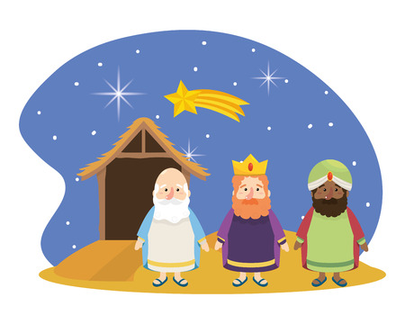 christmas nativity manger with three wise men and star scene cartoon vector illustration graphic design