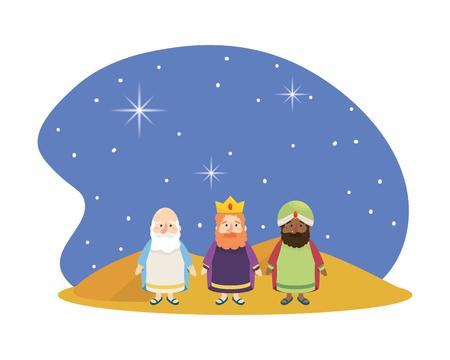 christmas nativity scene wise men at night over desert cartoon vector illustration graphic design