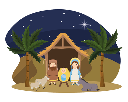 christmas nativity manger scene with joseph and mary with jesus and sheep with donkey cartoon vector illustration graphic design
