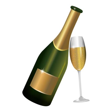 bouteille de champagne de luxe et élégante avec dessin animé en verre vector illustration graphic design