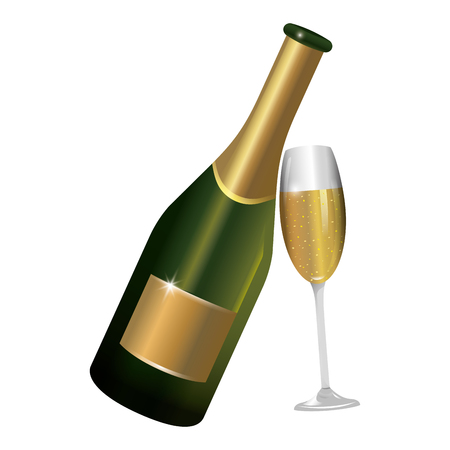 luxury and elegant champagne bottle with glass cartoon vector illustration graphic design