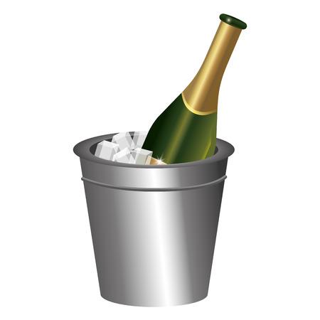 luxury and elegant champagne ice bucket cartoon vector illustration graphic design Vectores