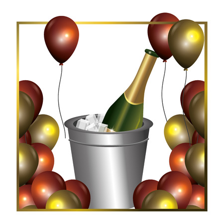 luxury and elegant  champagne ice bucket with golden balloons decoration cartoon vector illustration graphic design Vectores
