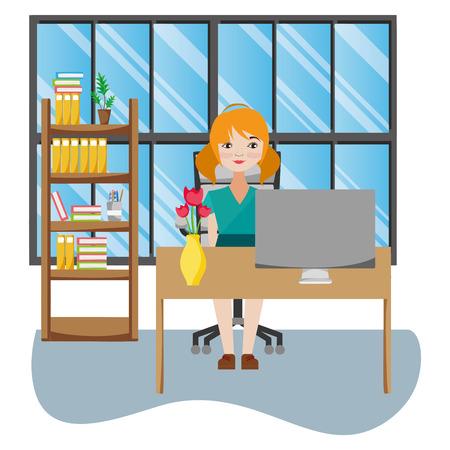 Businesswoman working inside office scenery cartoon vector illustration graphic design Illustration