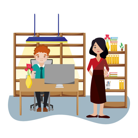 Business coworkers inside office building cartoon scenery vector illustration graphic design