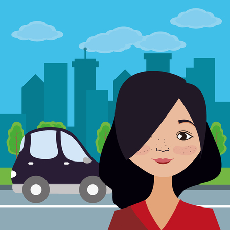 Young woman smiling cartoon at city over street with car passing by vector illustration graphic design