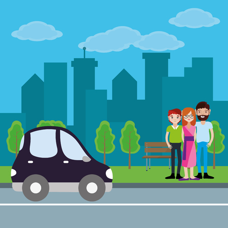 Cute family parents with son cartoon at city with car passing by park vector illustration graphic design Illustration