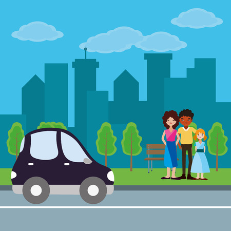 Cute family parents with daughter cartoon at city with car passing by park vector illustration graphic design