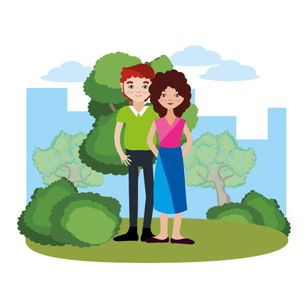 Couple woman and man smiling cartoon on nature park vector illustration graphic design