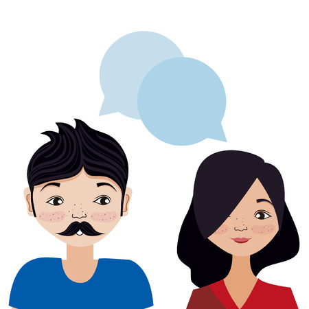Couple woman and man smiling cartoon with speech bubbles vector illustration graphic design