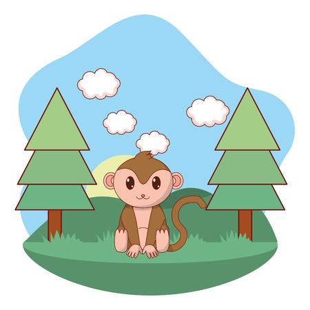 cute animal monkey between pines cartoon vector illustration graphic design Standard-Bild - 112587965