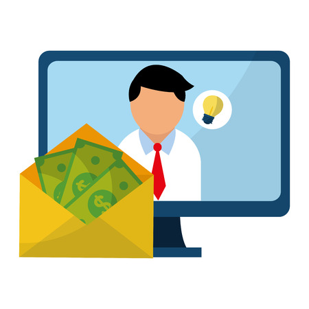 Businessman with idea on computer screen and envelope with money vector illustration graphic design Çizim