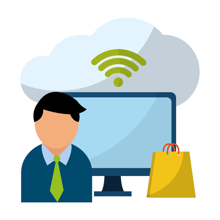 Businessman with computer wifi symbol and shopping bag vector illustration graphic design