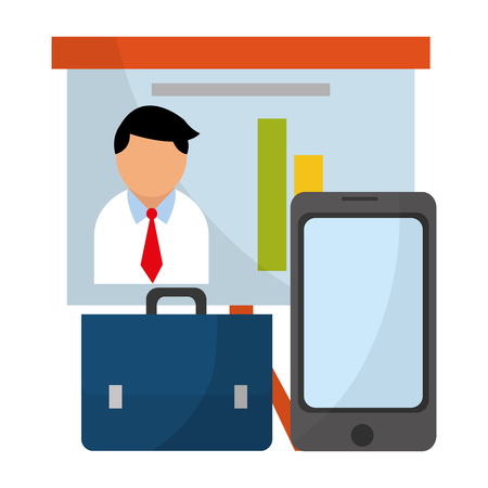 Business profit on whiteboard and smartphone with briefcase vector illustration graphic design