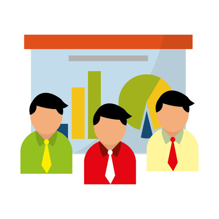 Businessmen with business profit graph on whiteboard vector illustration graphic design