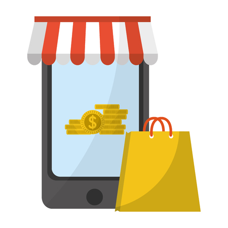 Shopping online with smartphone and shopping bag vector illustration graphic design