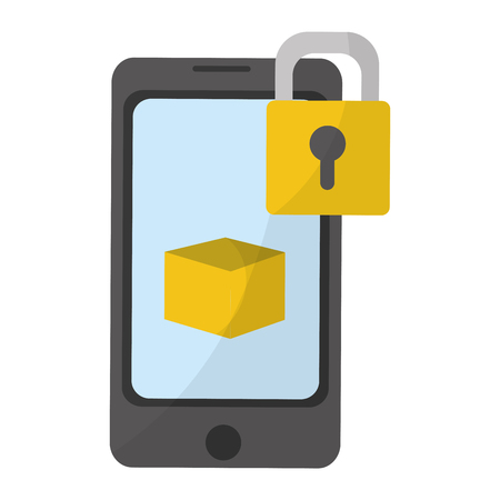 Smartphone locked with cloud computing box vector illustration graphic design