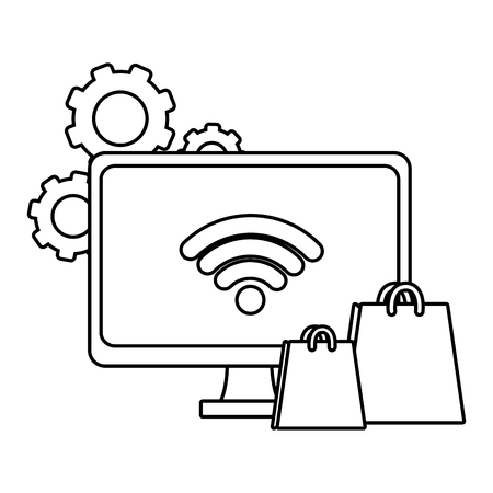 Computer screen with wifi and shopping bags vector illustration graphic design