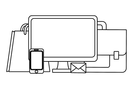 Business computer and briefcase with bag and smartphone vector illustration graphic design