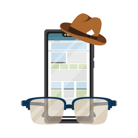 news journalist cellphone with hat and glasses cartoon vector illustration graphic design