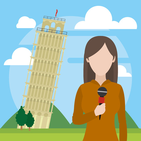 news journalist woman presenting from tower of pisa tourist place cartoon vector illustration graphic design Vectores