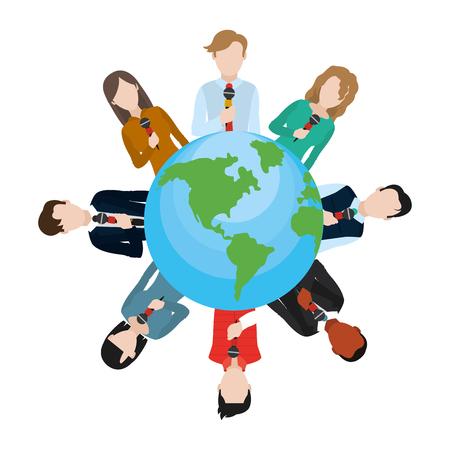 news journalists presenting around world round icon cartoon vector illustration graphic design