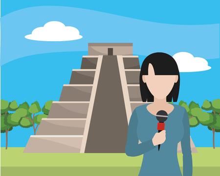 news journalist woman presenting from kukulkan temple tourist place cartoon vector illustration graphic design