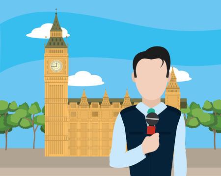 news journalist man presenting from england big ben cartoon vector illustration graphic design
