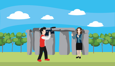news journalist woman presenting from stonehenge tourist place with camera man cartoon vector illustration graphic design Illustration