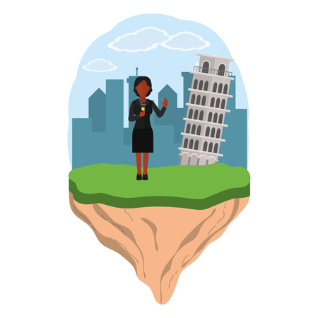 news journalist woman presenting from pisa tower touristic place cartoon vector illustration graphic design