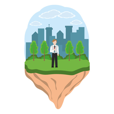 news journalist man presenting from city ladnscape touristic place cartoon vector illustration graphic design