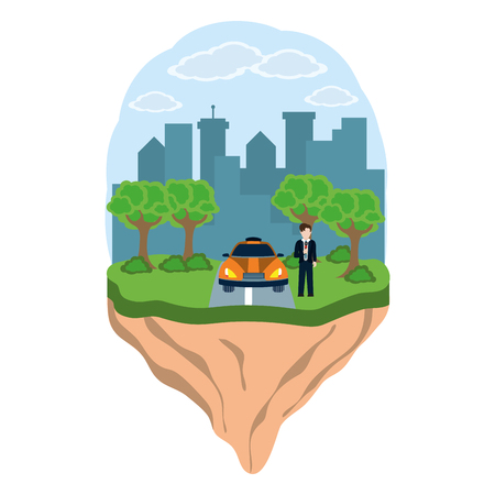 news journalist man presenting from city landscape touristic place with taxi car cartoon vector illustration graphic design Stock Illustratie