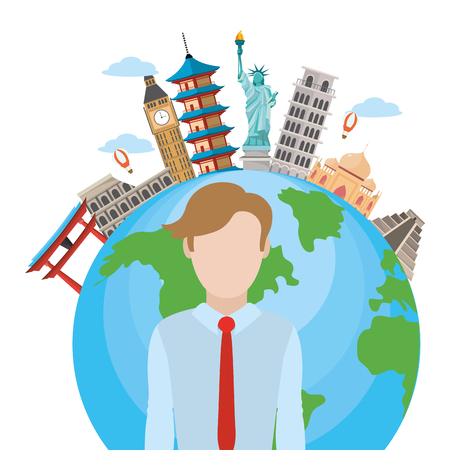 news journalist man presenting in front world map tourists places cartoon vector illustration graphic design Vectores