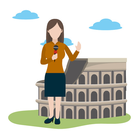 news journalist woman presenting from roman coliseum tourist place cartoon vector illustration graphic design