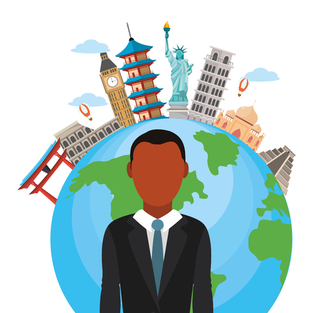 news journalist man presenting in front world map tourists places cartoon vector illustration graphic design 向量圖像