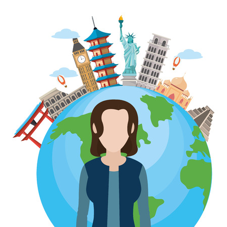 news journalist woman presenting in front world map tourists places cartoon vector illustration graphic design