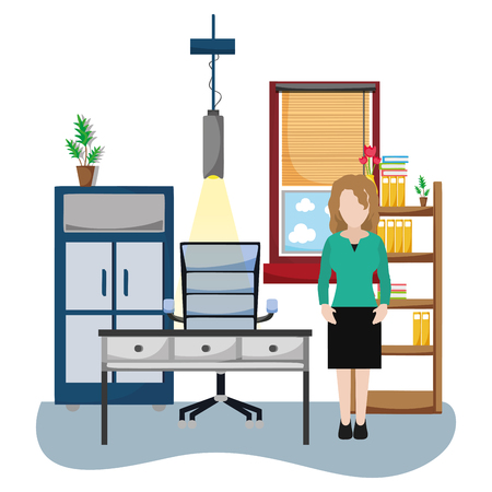 news journalist woman inside office cartoon vector illustration graphic design