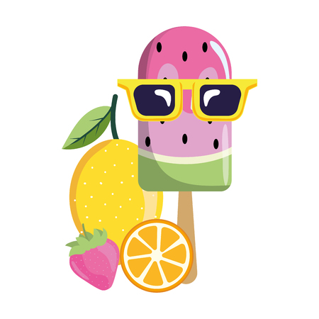 delicious watermelon fruit ice cream with lemon and grapefruit with strawberry cartoon vector illustration graphic design