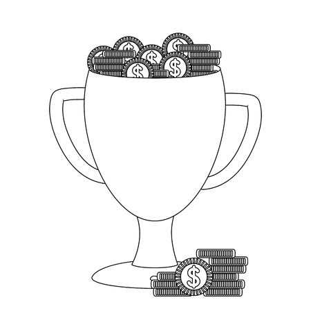 Trophy cup with coins money concept vector illustration graphic design