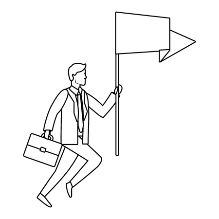Businessman with flag and briefcase avatar vector illustration graphic design