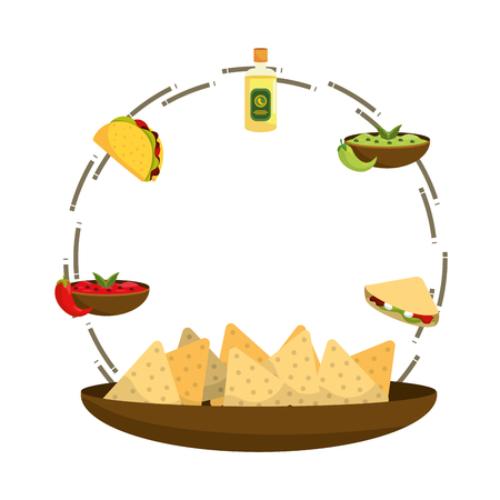 delicious mexican food round icon cartoon vector illustration graphic design