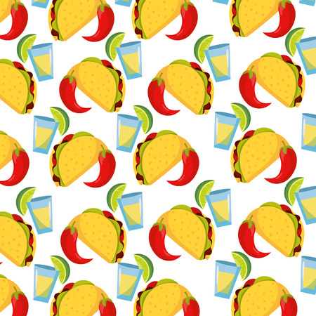 delicious mexican food pattern cartoon vector illustration graphic design Çizim