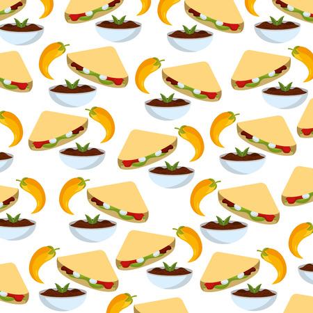 delicious mexican food pattern cartoon vector illustration graphic design