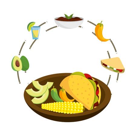 delicious mexican food round icon cartoon vector illustration graphic design