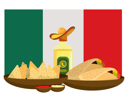 delicious mexican food in fron mexican flag cartoon vector illustration graphic design