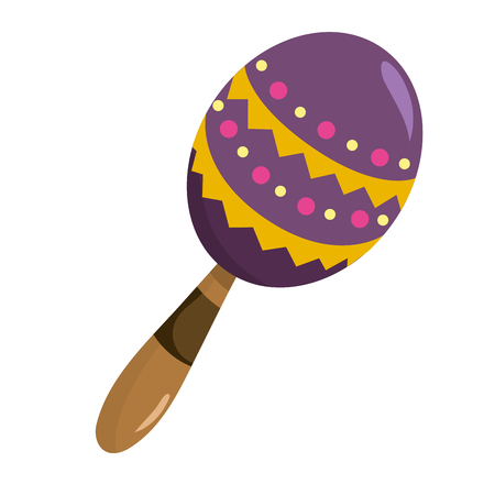 mexican icon maraca cartoon vector illustration graphic design