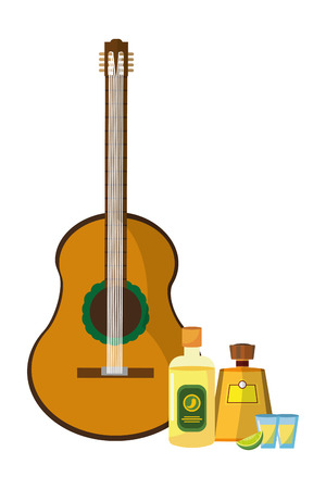 mexican icon tequila with guitar cartoon vector illustration graphic design